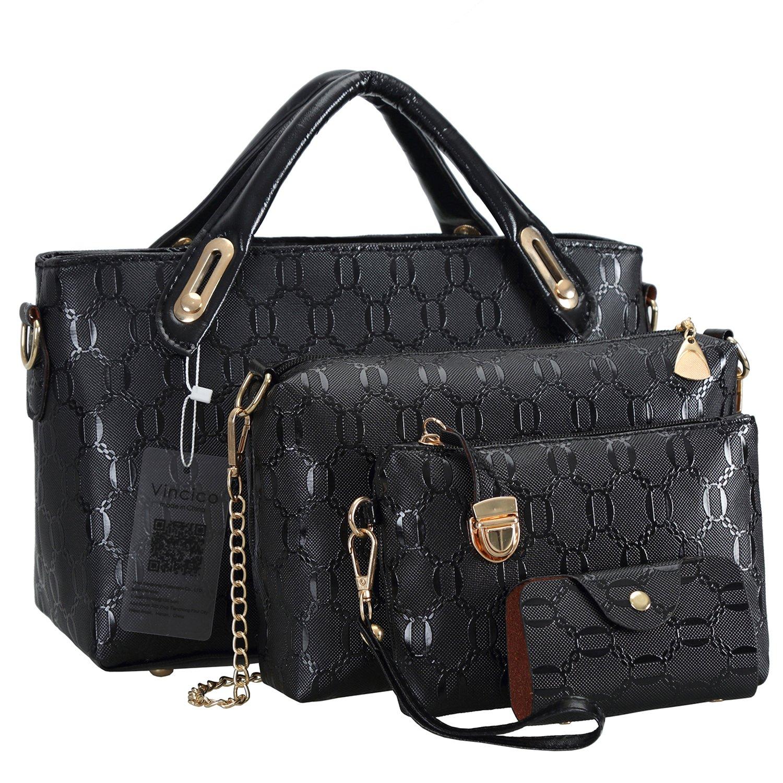 95fd857bab64 Amazon.com  Vincico Black Handbags for Women Shoulder Bags Tote Purse  Ladies Bag 4 Piece Set Faux Leather  Shoes