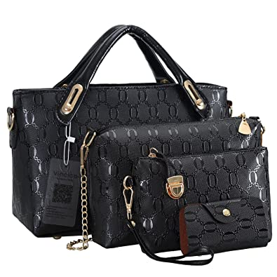 Amazon.com  Vincico Black Handbags for Women Shoulder Bags Tote Purse  Ladies Bag 4 Piece Set Faux Leather  Shoes db40798b16c70