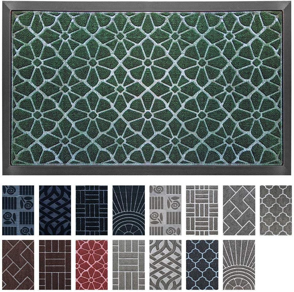 Premium Antibacterial Door Mat | Green 18 x 30 inches | Indoor \ Outdoor Doormat w Anti-Skid Rubber Back | Water Absorbent Entryway Mat | Easy to Clean Bootscraper | Low Profile Entry Mat
