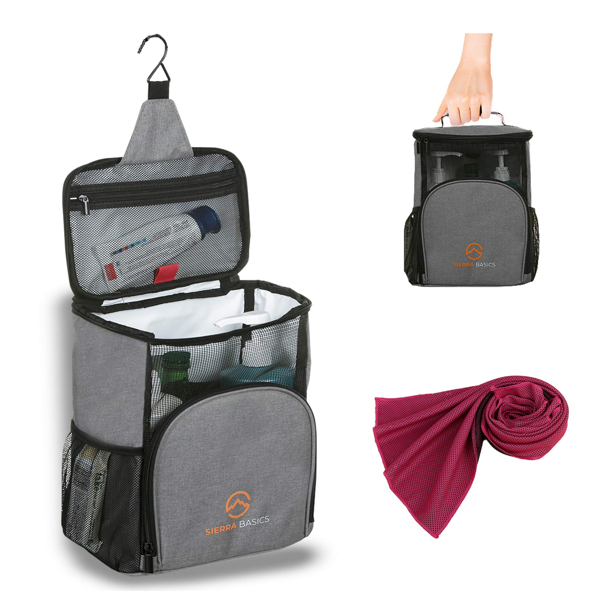 Sierra Basics Shower Caddy Portable, Bath Organizer with Hook, Oxford Hanging Mesh Bag, Quick Dry Mildew Resistant, Shower Tote Bag for College Dorm Gym Swimming Travel for Men Women Grey