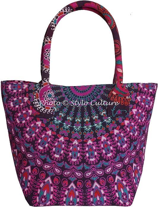 Stylo Culture - Bolso de mano para mujer, diseño indio bohemio con mandala: Amazon.es: Zapatos y complementos