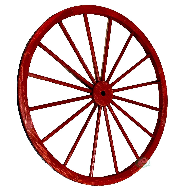 Gardenised Decorative Antique Red Wagon Garden Wheel - 42