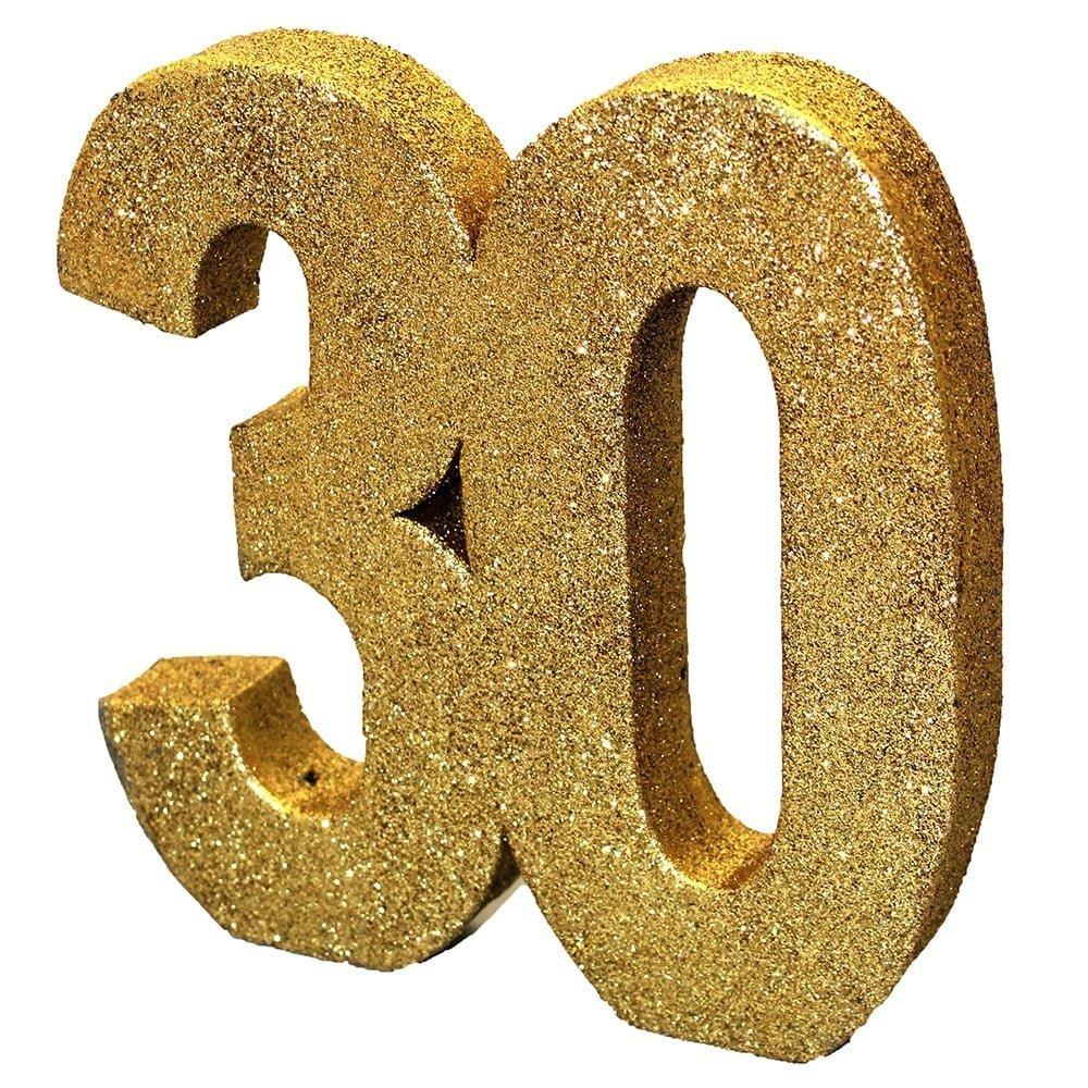2xGold Glitter Number Table Decoration '30' Creative Party