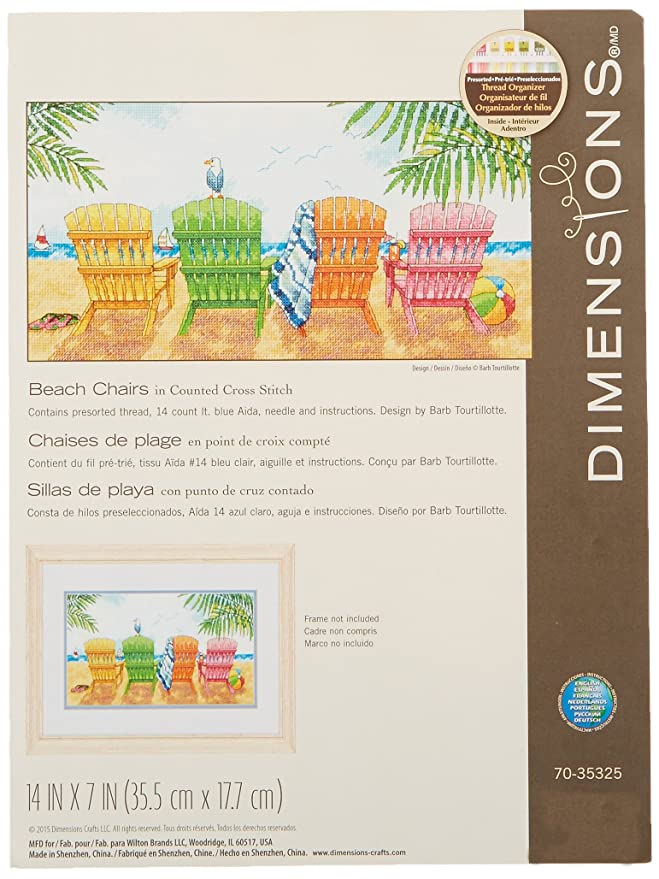 Amazon.com: Dimensions Colored Beach Chairs Counted Cross Stitch Kit, 14 Count Light Blue Aida, 7 x 14