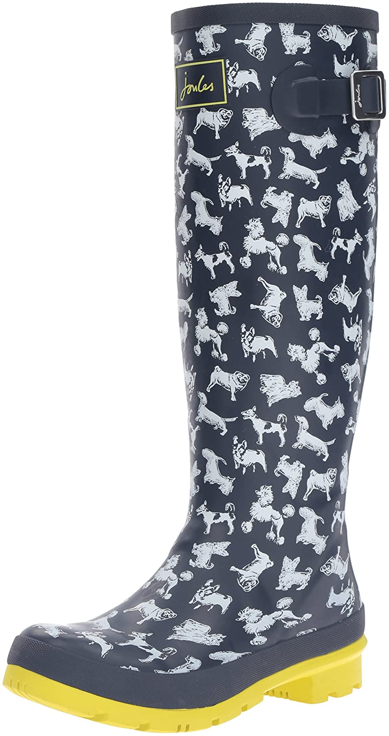 Joules Women's Welly Print Rain Boot B01F01FXL4 10 B(M) US|Marine Navy Scribbly Dog