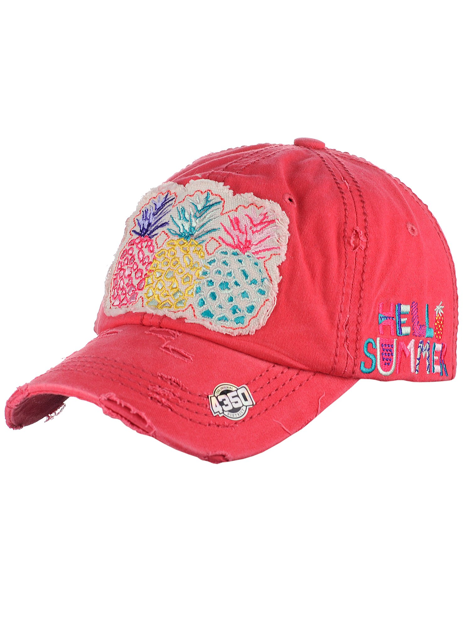 NYFASHION101 Women's Distressed Unconstructed Embroidered Baseball Cap Dad Hat, Pineapple, Coral