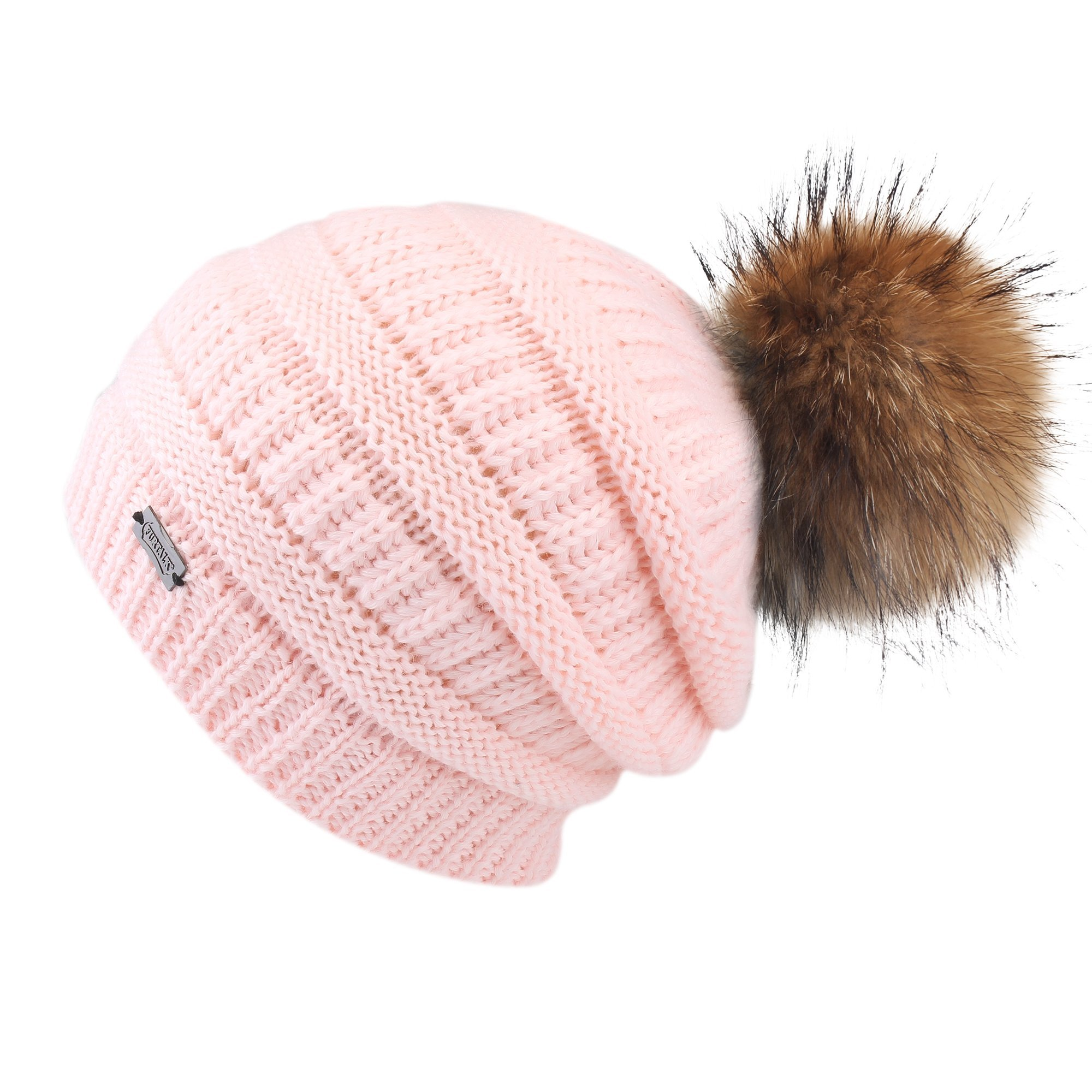 FURTALK Winter Fur Pom Pom Hat - Warm Knit Slouchy Beanie Hats for Women Chunky Soft Stretch Cable Caps Original (one Size, Pink)