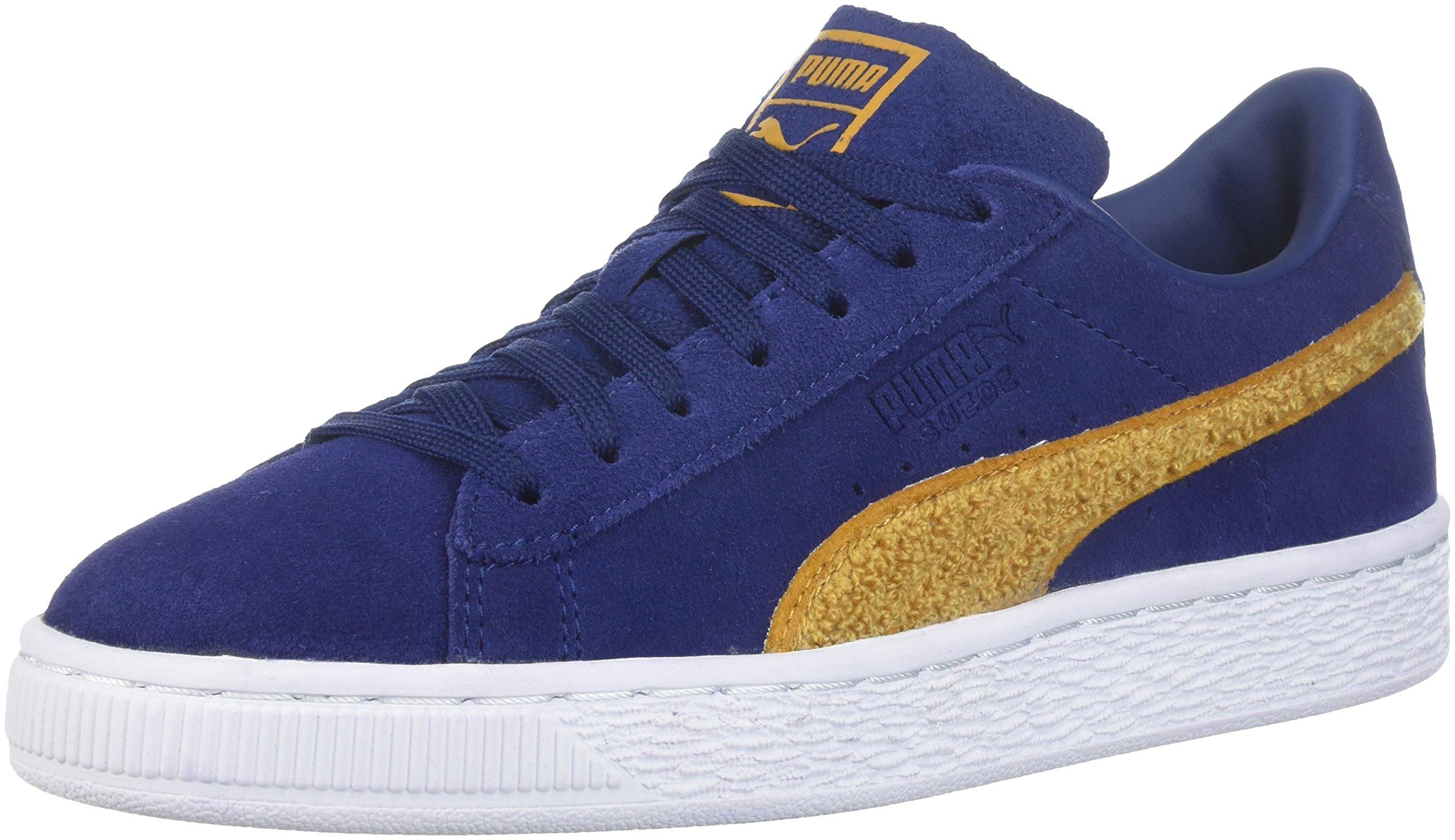 sports shoes 06295 82115 PUMA Unisex Suede Classic Terry Kids Sneaker, Blue Depths-Inca Gold, 12 M  US Little