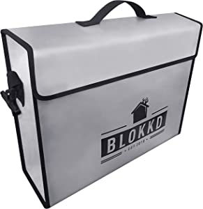 BLOKKD Fireproof Document Bags - Fire Proof Safe Lock Box Bag - Waterproof Storage Safety for Files, Money, Passport, Jewelry, Valuables - 13 x 16 x 5 inches (Gray)