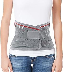 "ORTONYX Lumbar Support Belt Lumbosacral Back Brace – Ergonomic Design and Breathable Material - M/L (Waist 31.5""-39.4"") Gray/Red"