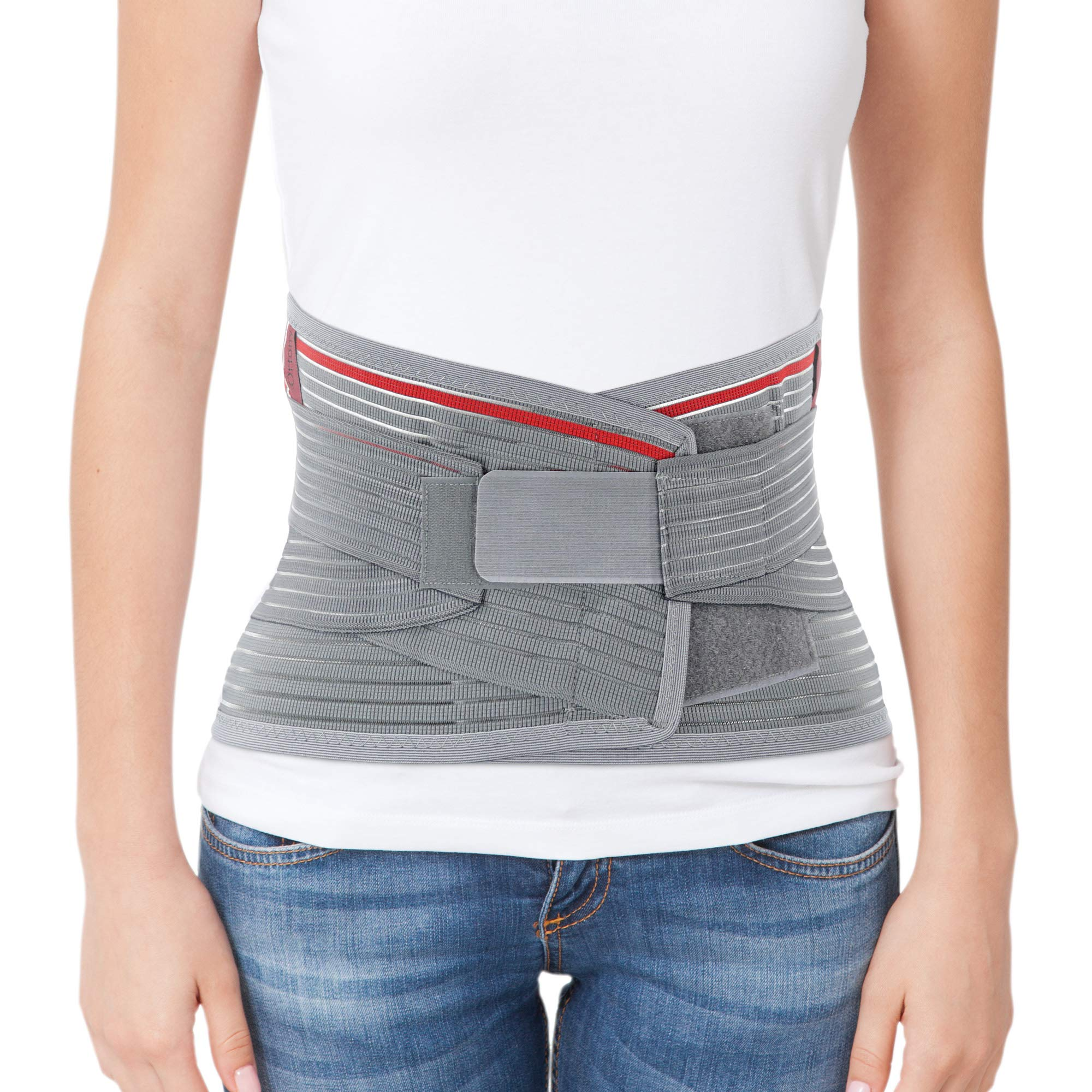 ORTONYX Lumbar Support Belt Lumbosacral Back Brace - Ergonomic Design and Breathable Material - M-L (Waist 31.5''-39.4'') Gray/Red