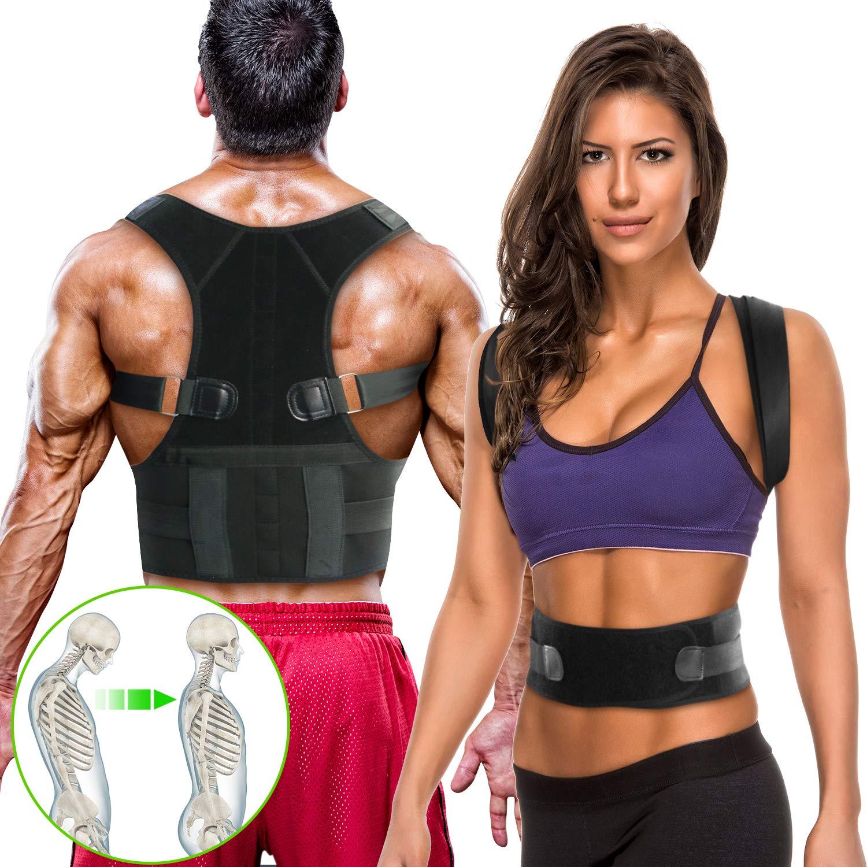 WOSTOO Rückenstützgürtel & Geradehalter zur –Haltungstrainer & Rückengürtel Gegen Rückenschmerzen–Stark Gepolsterte Gurte für Frauen und Männer, Richtmaschine Schulter L