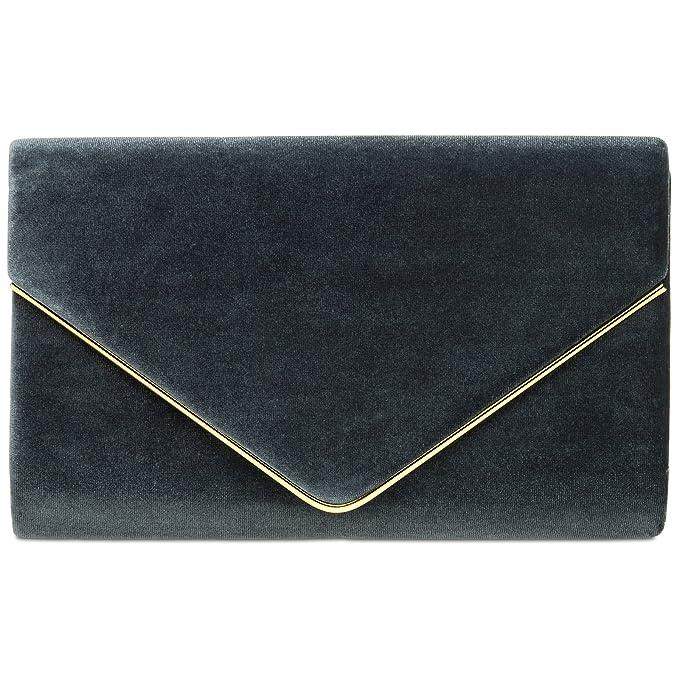 03af9f23d CASPAR TA375 Bolso de mano fiesta para mujer/Clutch elegante con cadena,  Color:gris oscuro;Tamaño: Talla Única: Amazon.es: Ropa y accesorios