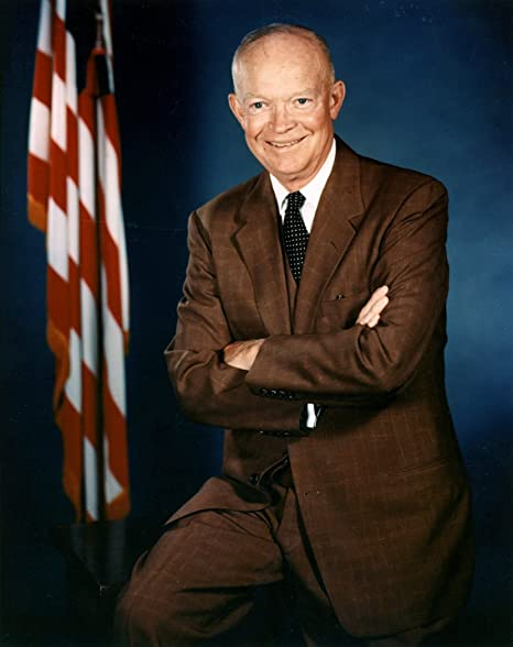 Eisenhower Photograph in a Black Pine Frame Historical Artwork from 1950 - - Gloss Dwight D 8 x 10