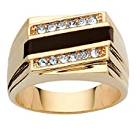 Men's 14K Yellow Gold Plated Emerald Cut Natural Black Onyx and Round Crystal Ring