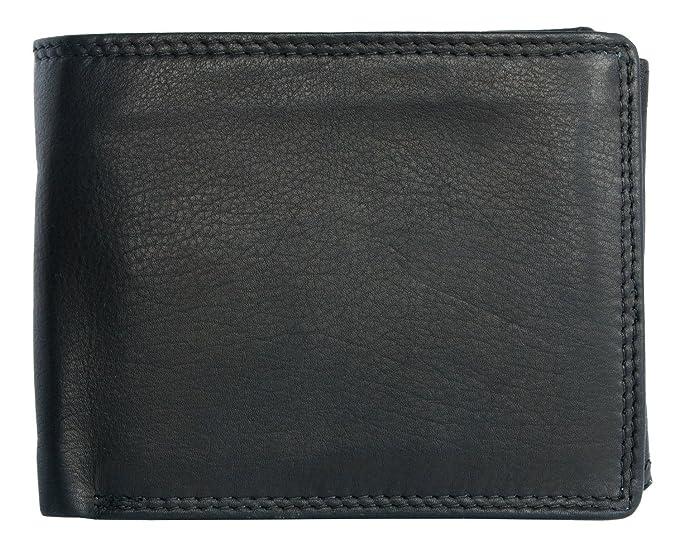 Cartera Kabana negro diseño clásico de cuero genuino: Amazon.es: Ropa y accesorios
