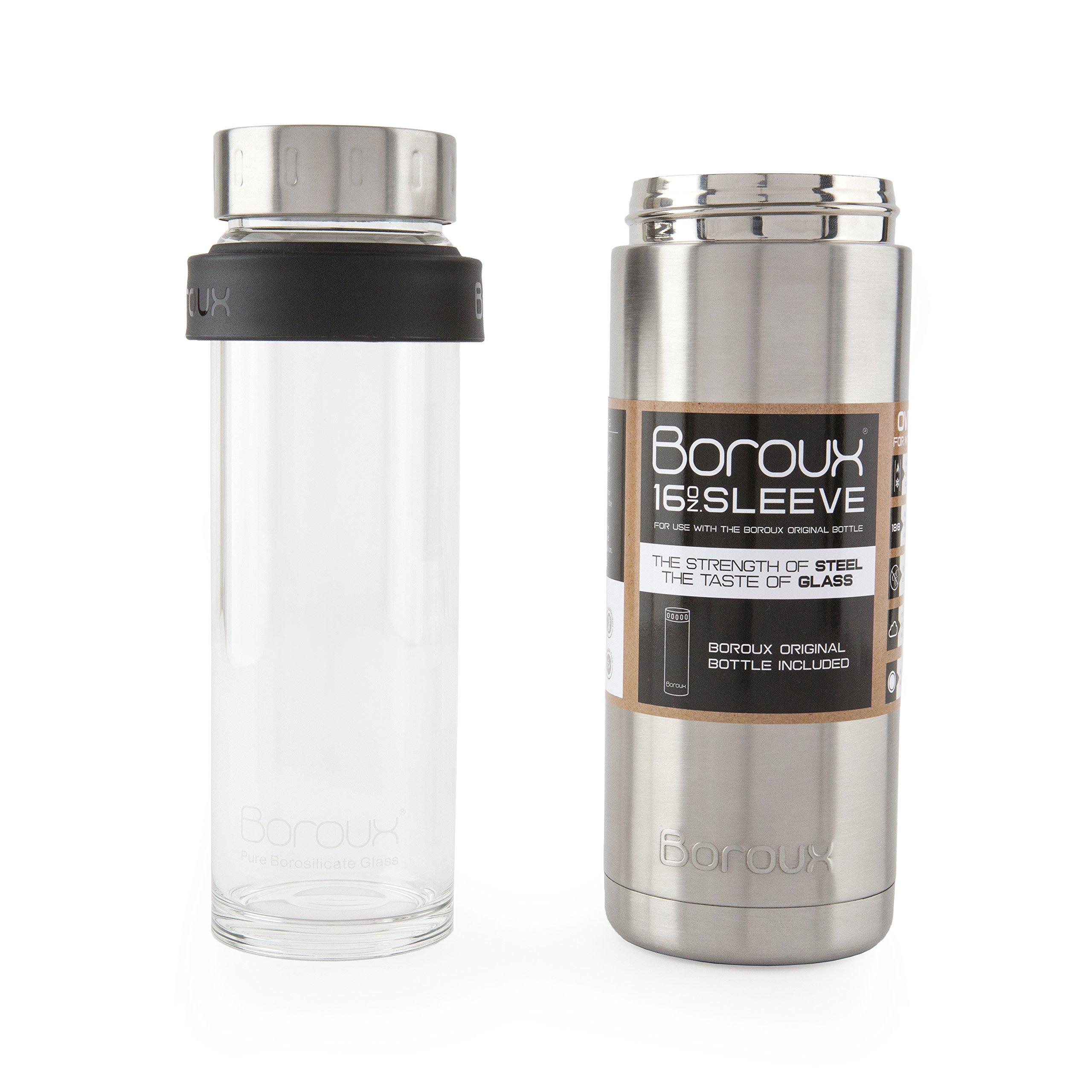 Boroux SLEEVE-Insulated Thermos Water Bottle .5 LITER. Handmade Pure Borosilicate Glass Water Bottle with DOUBLE WALLED STAINLESS STEEL VACUUM SEALED PROTECTION. No Slip Grip Technology by Boroux