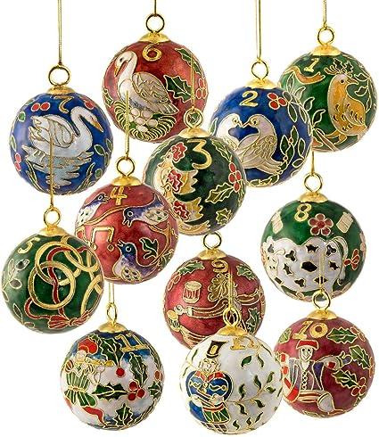 Amazoncom Value Arts Christmas Ornamentshandmade Cloisonne Twelve