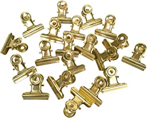 Metal Bulldog Clips, 1.25 Inches, Pack of 20 (Light Gold)