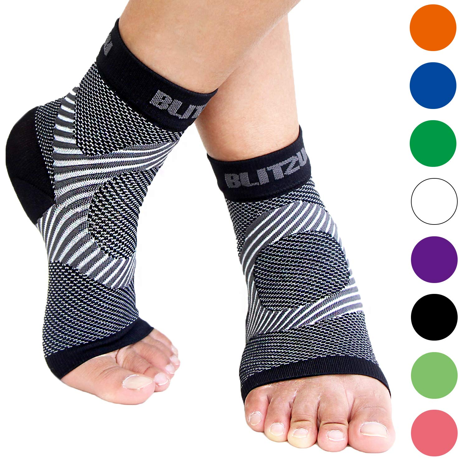 Plantar Fasciitis Socks with Arch Support, Best Foot Care Compression Sleeve, Better Than Night Splint, Eases Swelling & Heel Spurs, Ankle Brace Support, Increases Circulation, Relieve Pain Black S/M by BLITZU
