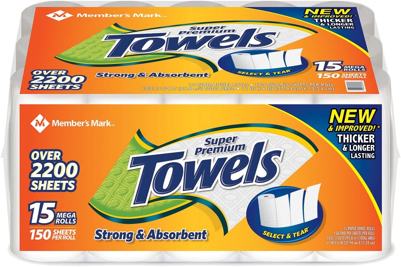Member's Mark Super Premium Paper Towels (15 rolls, 150 sheets per roll)