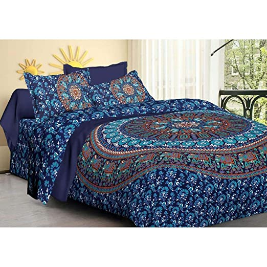 Indian Bohemian Mandala Bed Cover Queen Size Bed Sheet Throw Blanket Dorm Decor
