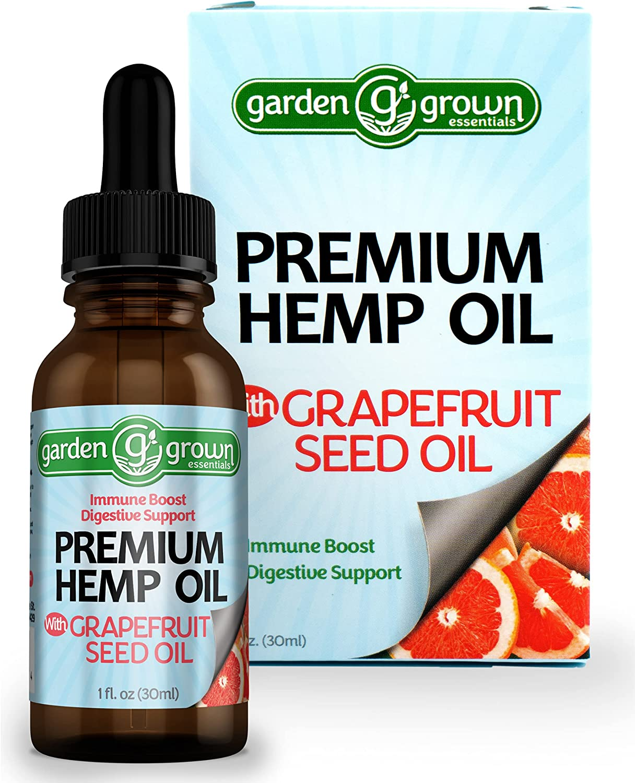 Garden Grown Essentials Organic Hemp Seed Oil & Grapefruit Seed Extract; Plant Based Vegan Omega 3 6 9; Immune Boost, Antioxidant, Sleep Aid, Calming Relief