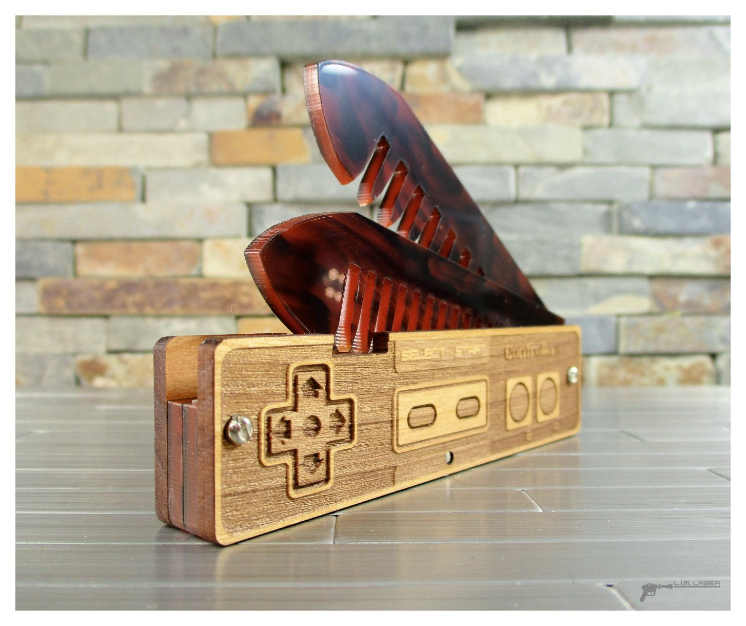 NES Style Wood and Bamboo Beard and Mustache Folding Comb, with Engraved Details