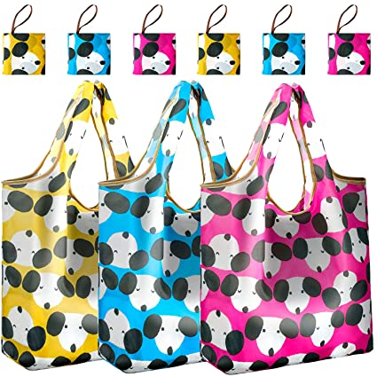 6e902ce559c3 Reger Foldable Nylon Light Weight Compact Ripstop Grocery Shopping Storage  Bags Reusable & Mathine Washable Fits in Pocket Eco Friendly (Dog Prints,  ...