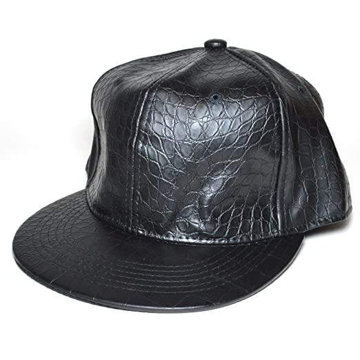 Image Unavailable. Image not available for. Color  Black Leather Look Blank  Flat Plain Adjustable Classic Snapback Baseball Cap Hat 14cdde212ac2