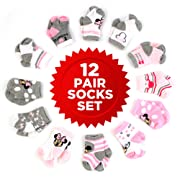 Disney Baby Girls Mickey & Minnie Mouse Assorted Color Pair Socks Set, Pink, White, Grey Collection, 0-6 Months