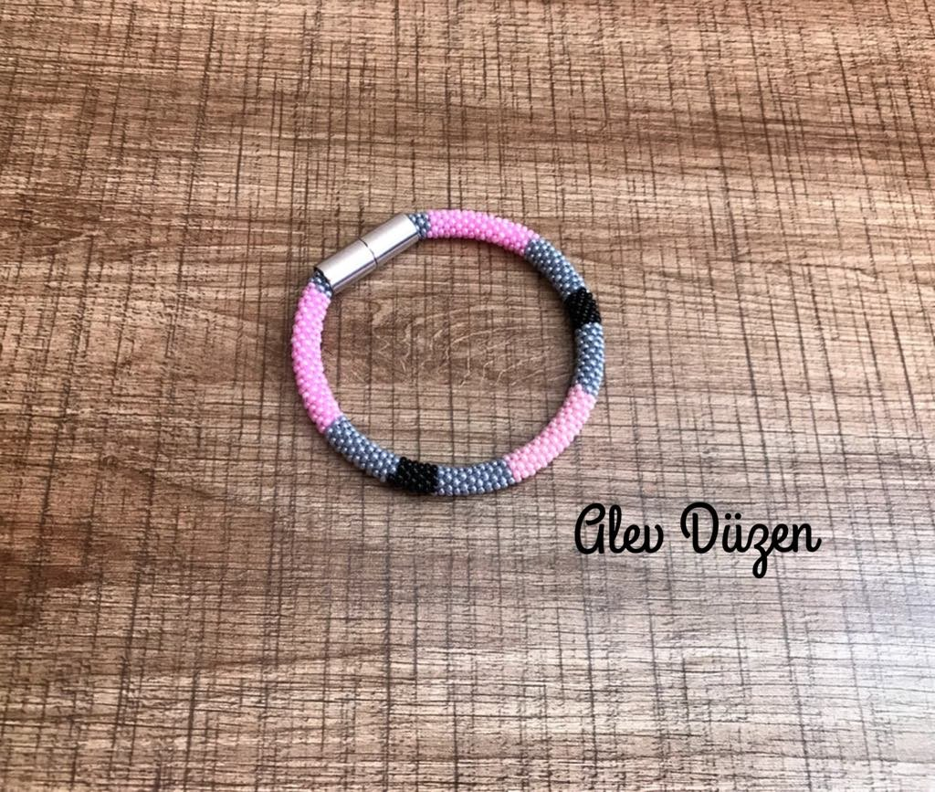 Tribal African statement bracelet black pink grey colors Bangle Bead Crochet Bracelets/Beaded Crochet Bracelet/Bangle Bead Crochet Bracelets