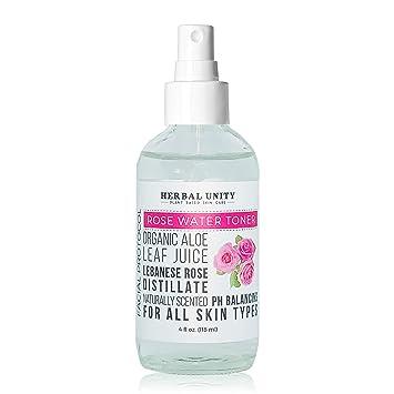 Herbal Unity Rose Water Toner - Gentle Facial Cleanser - Anti aging spray 4  fl oz  (118 ml)