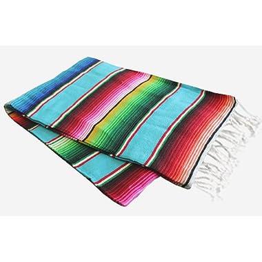 Del Mex X-large Mexican Serape Blanket Sarape Turquoise