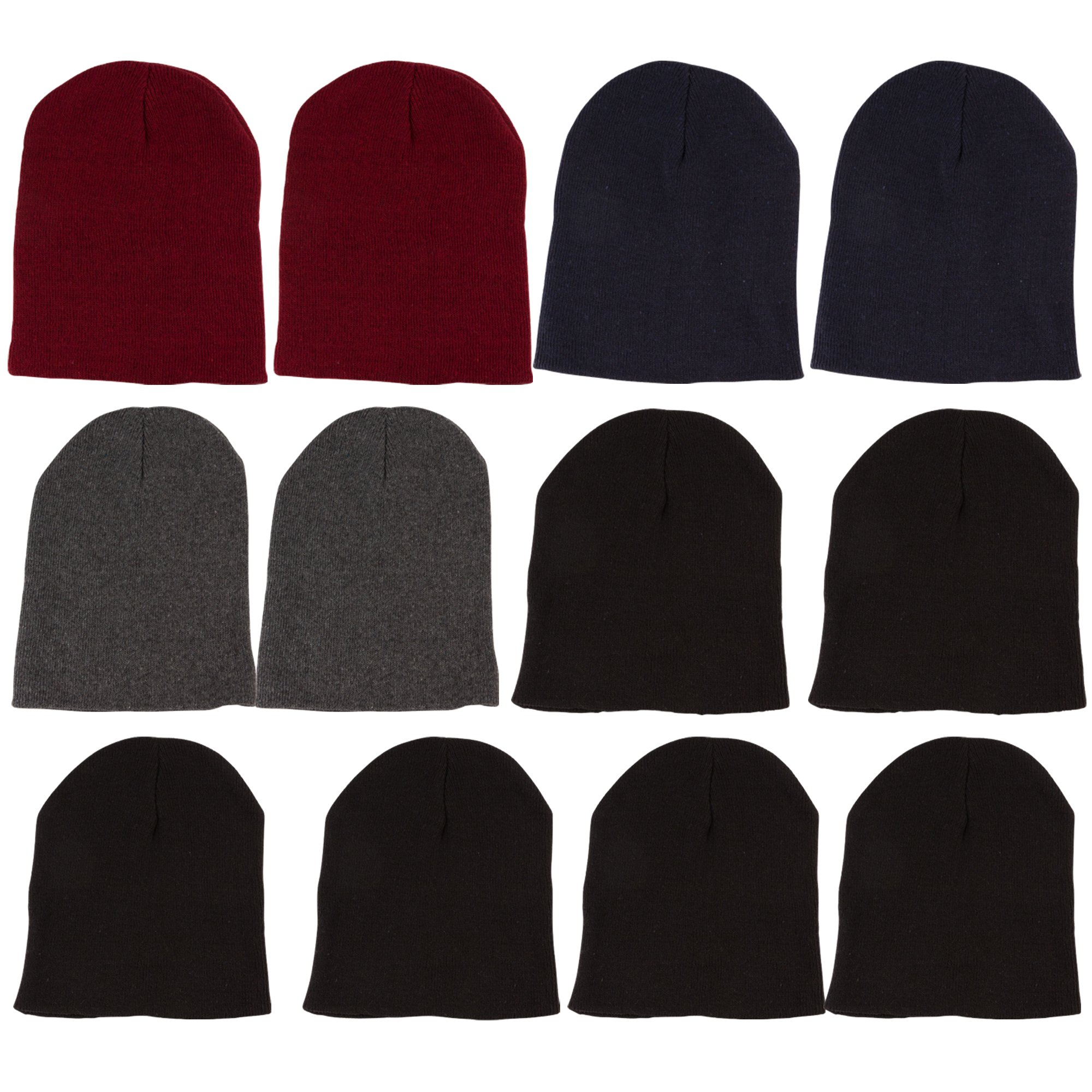 Yacht & Smith Mens Womens Warm Winter Hats in Assorted Colors, Mens Womens Unisex (12 Pack Assorted Solids (C))