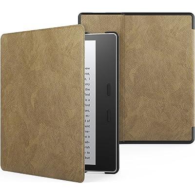 MoKo Funda Compatible con All-New Kindle Oasis (9th and 10th Generación Solo, 2017 and 2019 Release) - Ultra Delgada Ligera Smart-Shell Soporte Cover Case - Marrón Oscuro