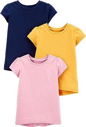 Simple Joys by Carter's Camisetas de Manga Corta sólidas Niñas, Pack de 3