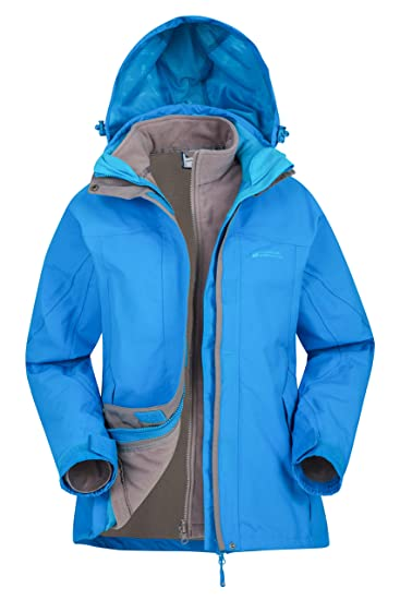 2ab2750fa Mountain Warehouse Storm 3 in 1 Womens Waterproof Jacket - Multiple  Pockets, Detachable Fleece Ladies Coat, Rain Jacket - Ideal Spring Outer  for ...