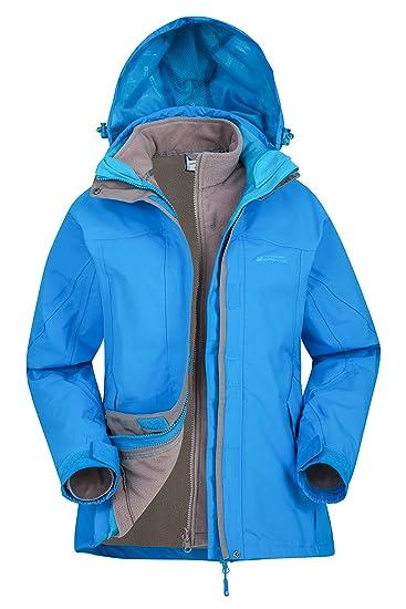 667982d28 Mountain Warehouse Storm 3 in 1 Womens Waterproof Jacket - Multiple  Pockets, Detachable Fleece Ladies Coat, Rain Jacket - Ideal Spring Outer  for ...