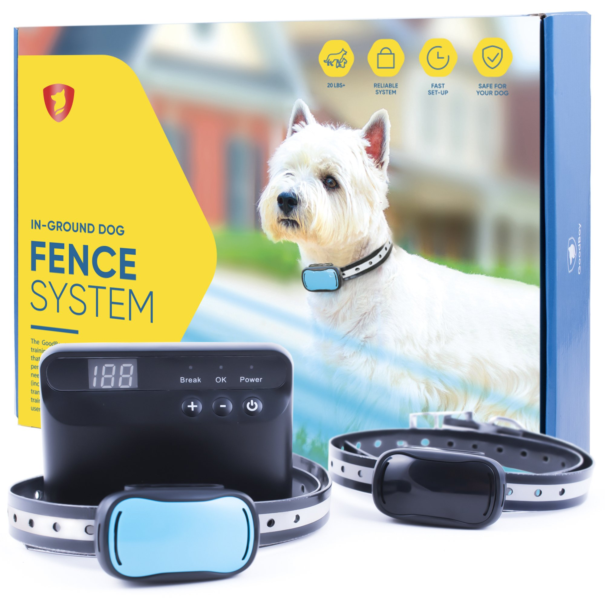 GoodBoy Electric In-Ground Dog Fence - Wireless Invisible Perimeter System with 2 Collars - Best for Safe Hands-Off Dogs and Pets Containment (20+ lbs)