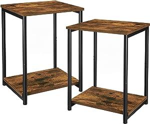 VASAGLE End Tables Set of 2, Side Tables with Storage Shelf, Slim Night Tables, Steel Frame, for Living Room, Study, Bedroom, Industrial, Rustic Brown and Black ULET272B01