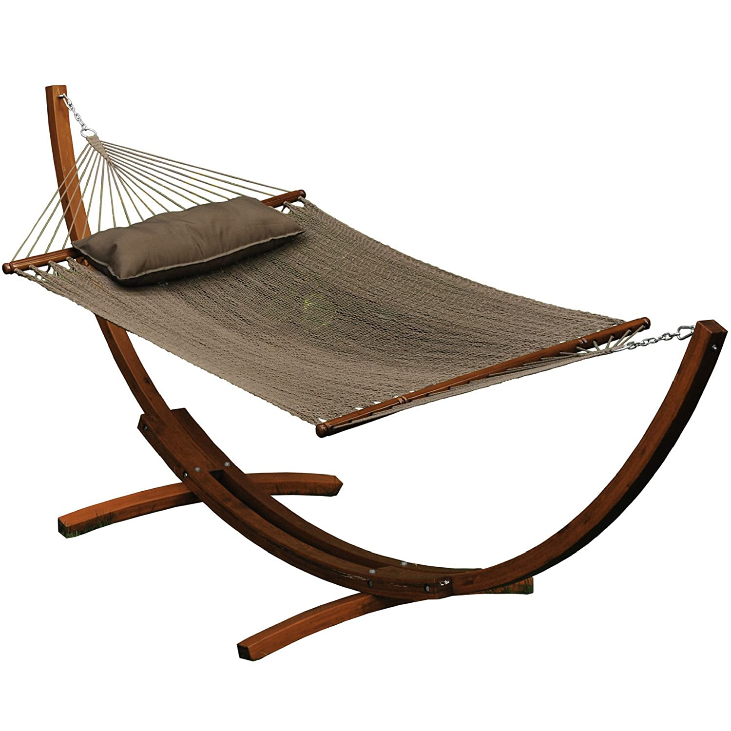 Amazon.com : Algoma 67104914SP Wooden Arc Frame Hammock And Pillow Combo,  12 Feet, Natural Caribbean : Garden U0026 Outdoor