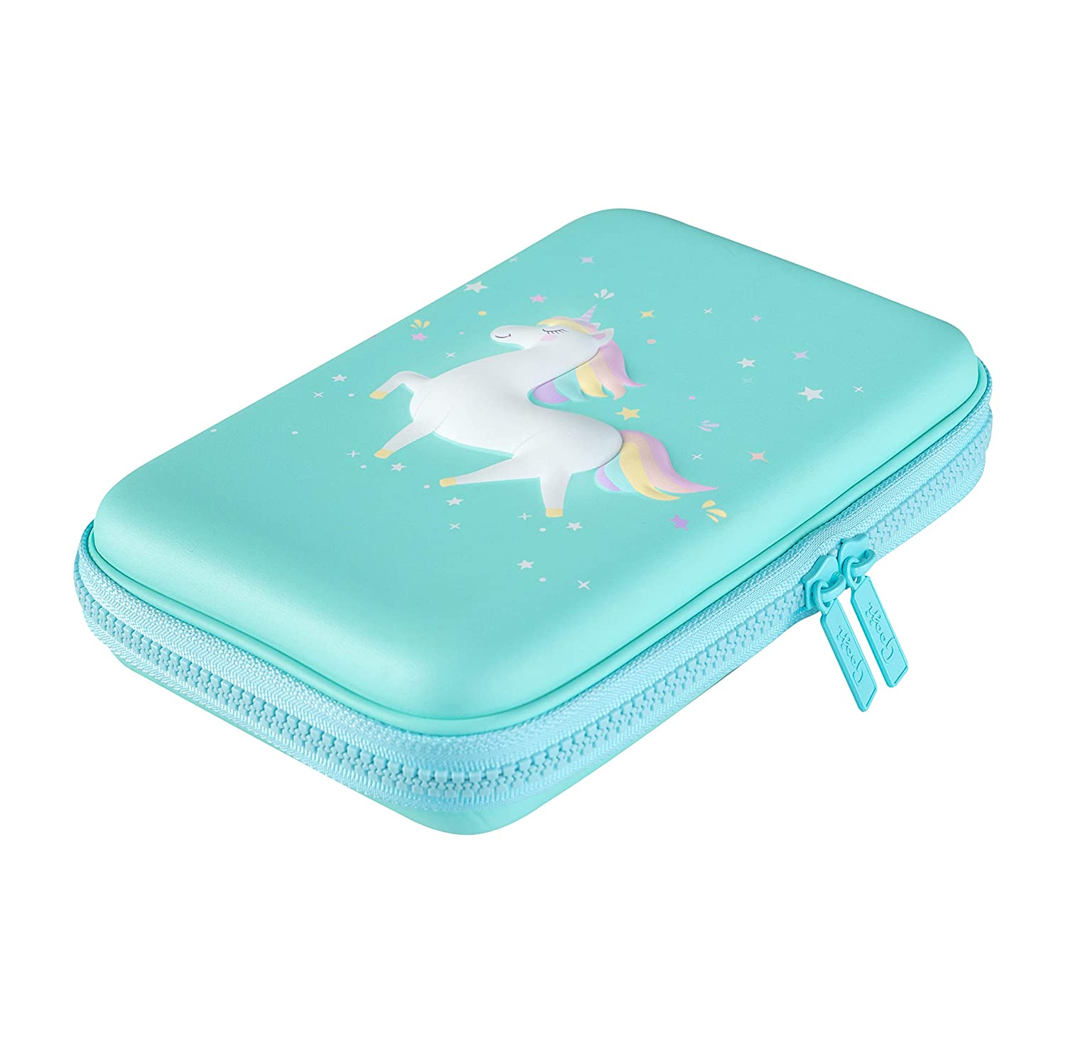 Bright Colored Storage Box Classroom for Markers Art Use Pens Magical 3D Creature Colored Pencils Compact and Portable Home Hard Top Gooji Unicorn Pencil Case for Girls Blue