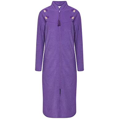 Storelines Ladies Embroidered Zip Front Dressing Gown Navy Purple