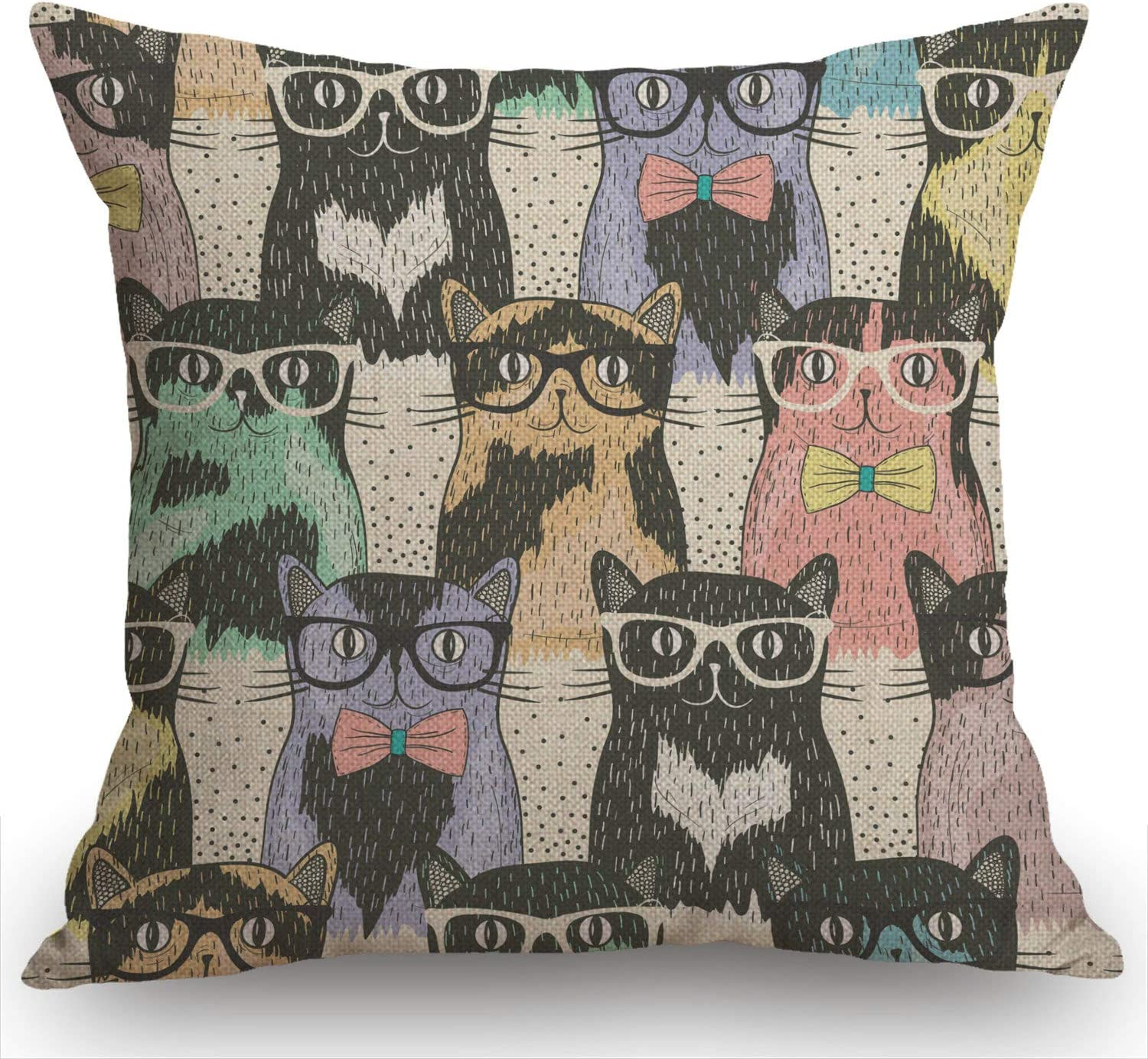 Swono Cats Pillow Cover 18x18 Inch for Hipster Cute Cats Farmhouse Decorative Throw Pillow Cover for Sofa Couch Home Decoration