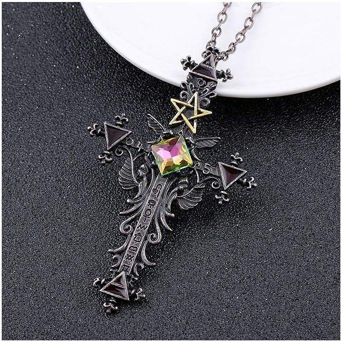 1pc Vintage Gothic Cross Statement Necklace Triangle Pentagram Geometric Necklace Women Jewellery Hip Hop Men   Amazon.com