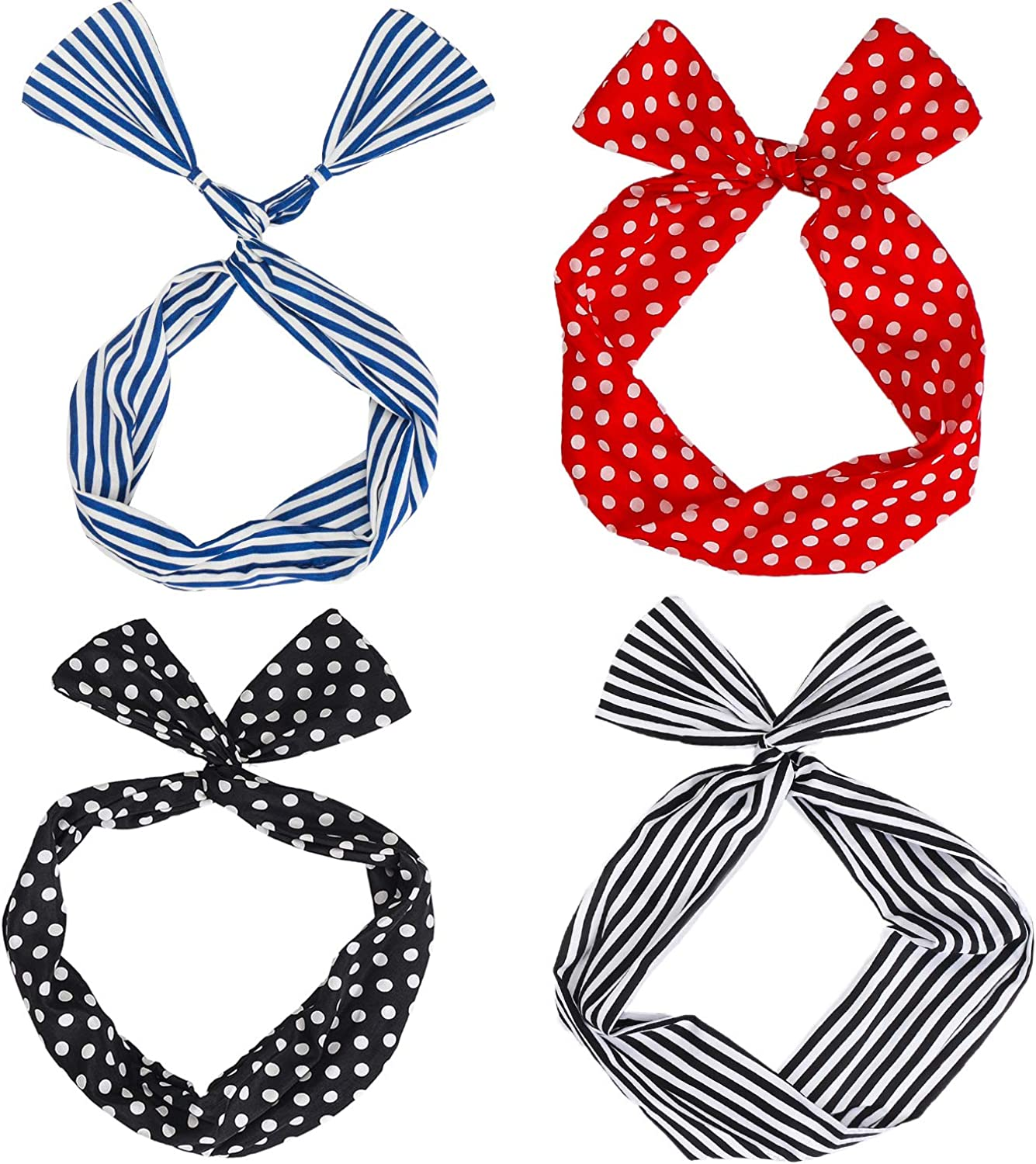 Beelittle 50s Elastic Headbands Retro Style Boho Floal Polka Dot Bowknot Headwraps Twisted Hair Band Fashion Head Accessorie for Women and Girls Style 1