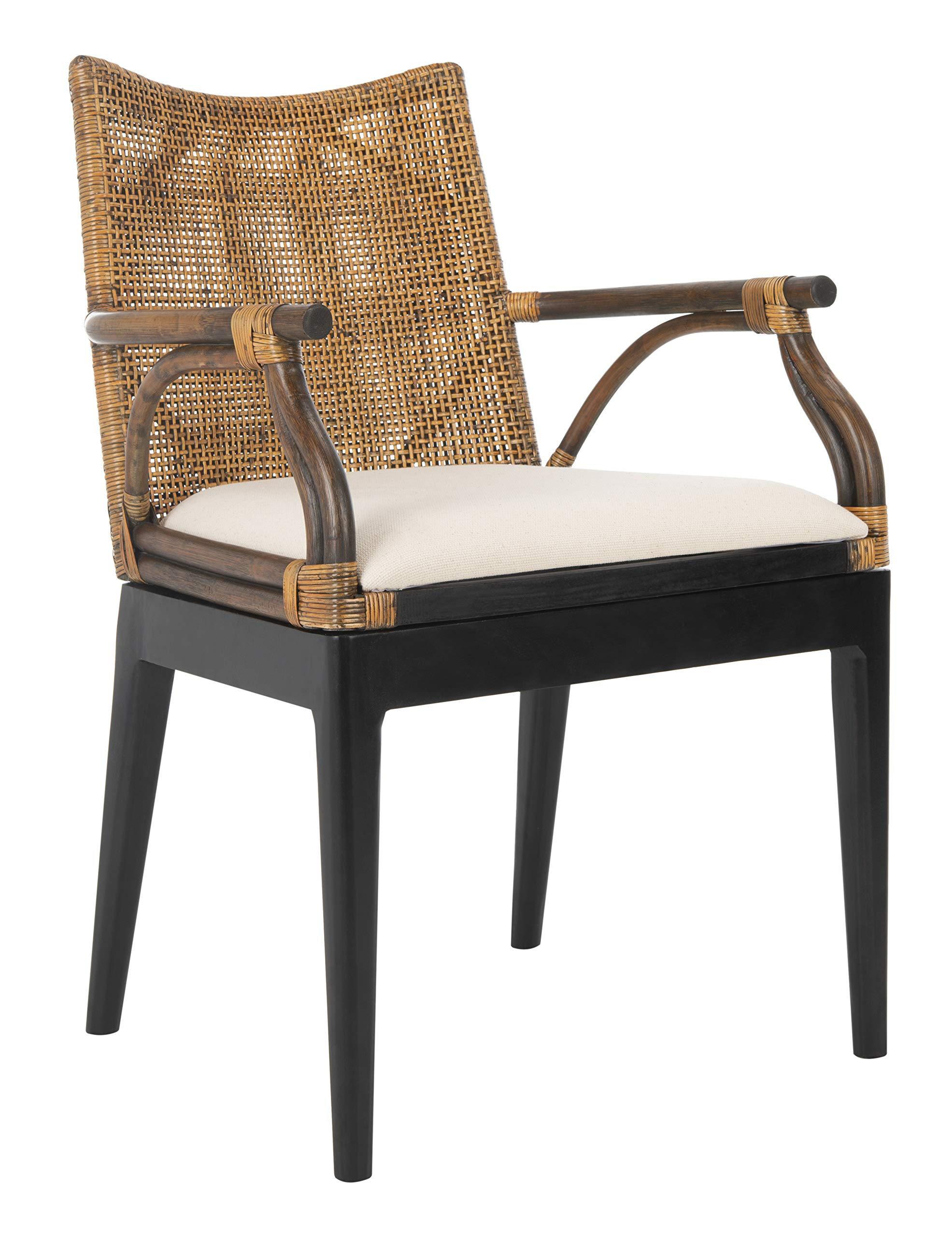 Safavieh Home Gianni Brown Rattan Tropical Woven Arm Chair