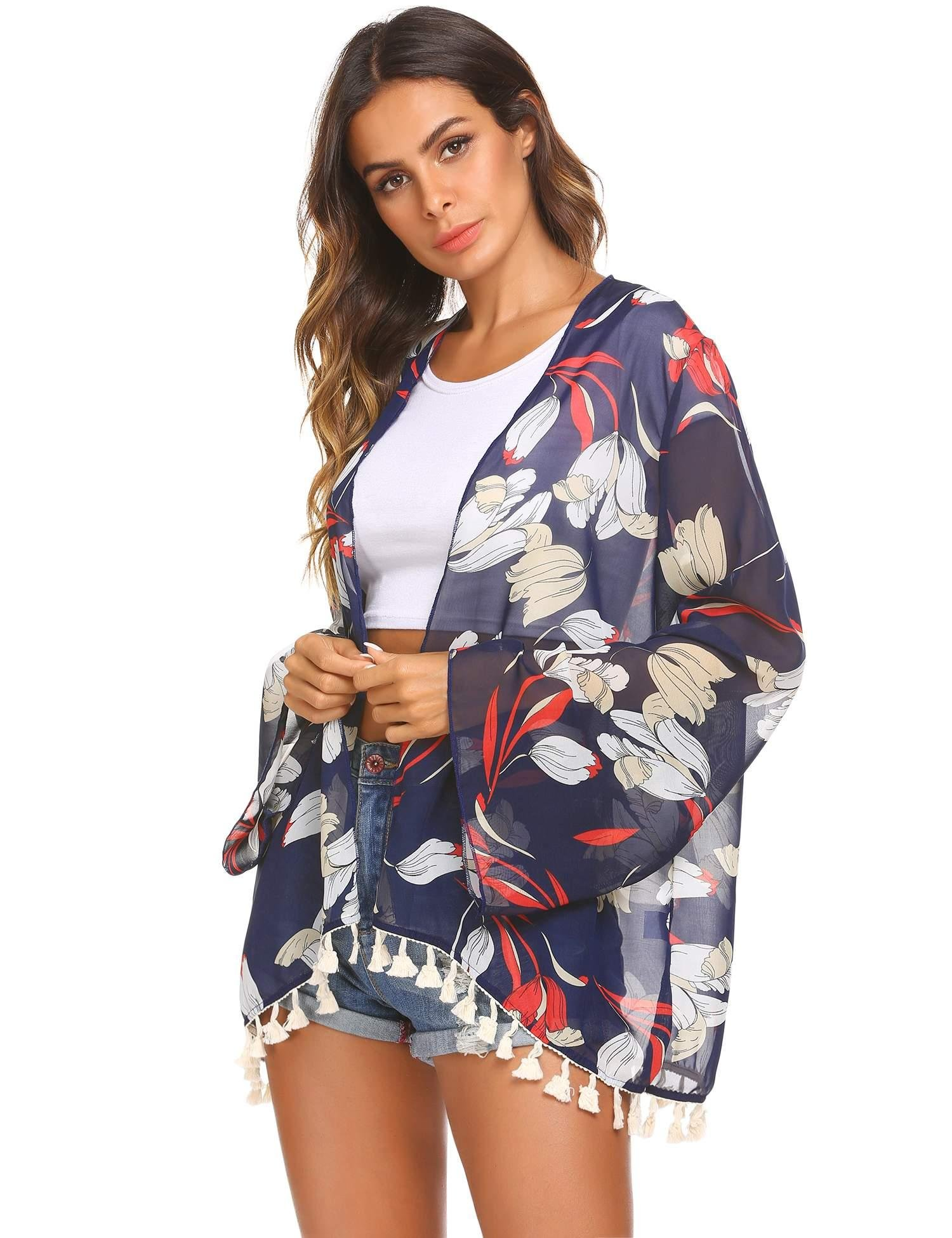 Miuniu Chiffon Cardigan, Flower Print Open Front Shawl Kimono Coat Jackets Cover up Blouse Tops