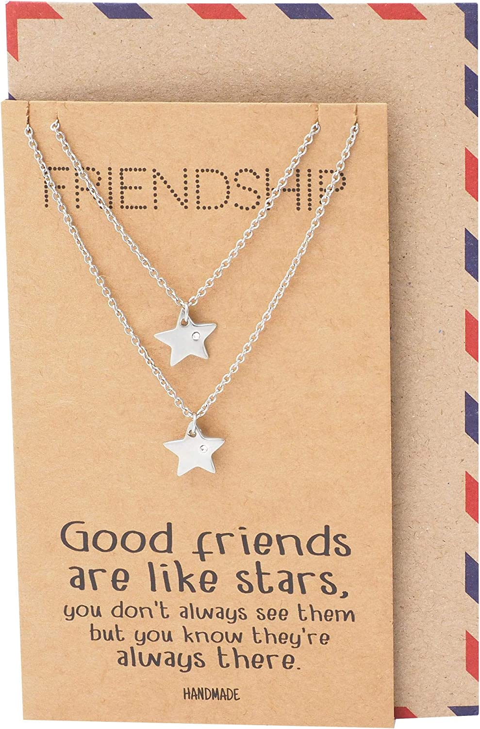 Quan Jewelry Star Pendants Friendship Necklace for 2, with Greeting Card